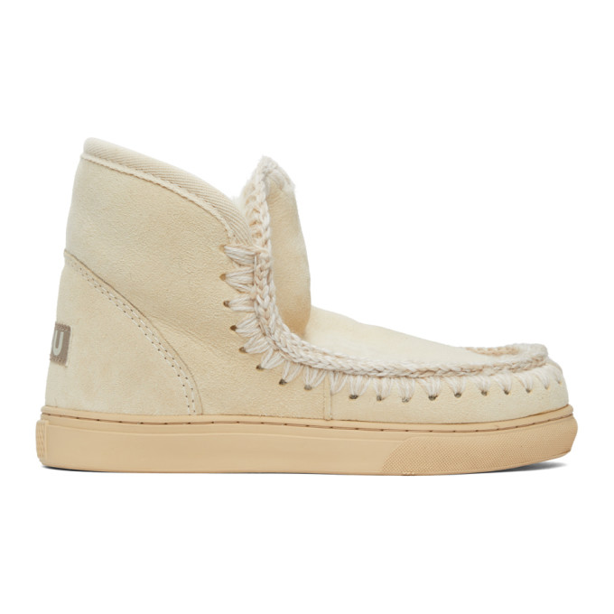 Mou SSENSE Exclusive Off-White Sneaker Boots