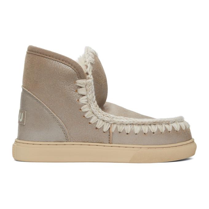 Mou Grey Metallic Sneaker Boots