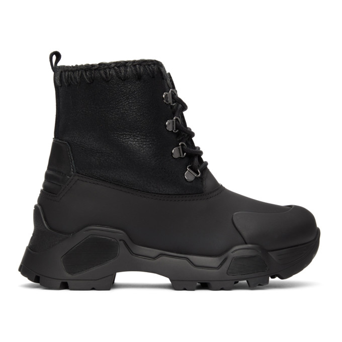Mou Black Mountain Lace-Up Ankle Boots