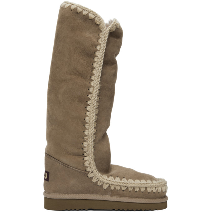 Mou Grey and Off-White 40 Tall Boots