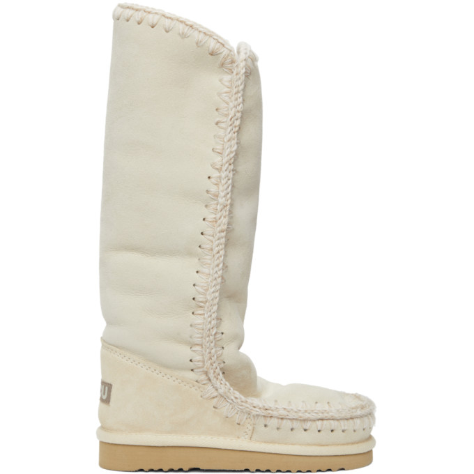 Mou SSENSE Exclusive Off-White 40 Tall Boots
