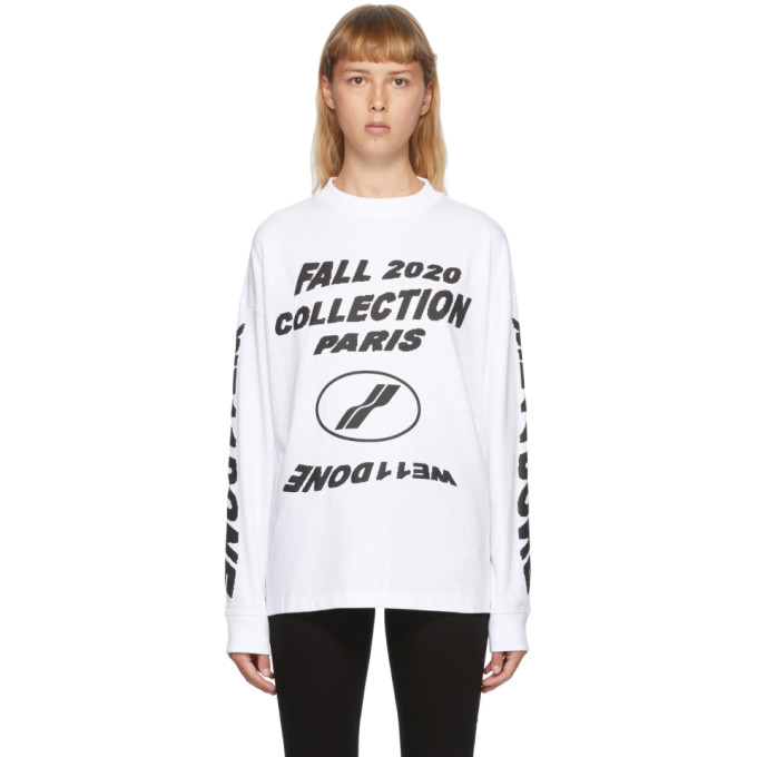 We11 Done WE11DONE WHITE PF20 LONG SLEEVE T-SHIRT