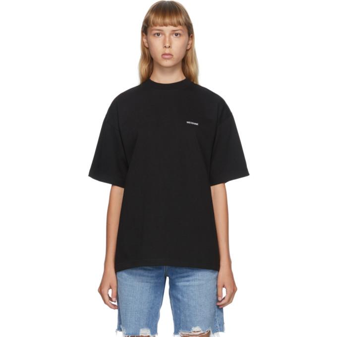 We11 Done WE11DONE BLACK HIGH-NECK LOGO T-SHIRT