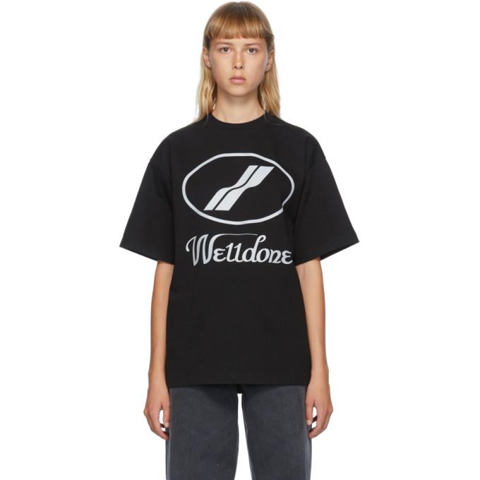 We11done T-shirt a logo reflechissant noir