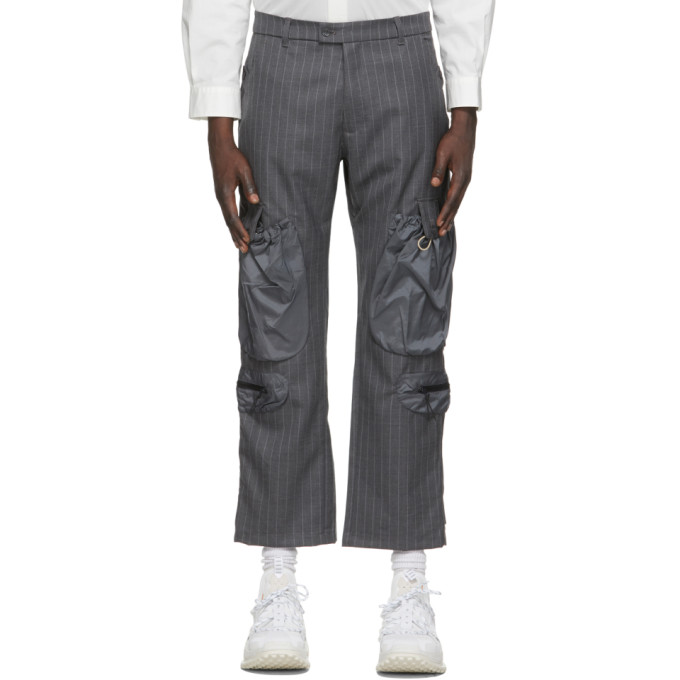 Li-Ning Black Wool Striped Pocket Trousers  - buy with discount