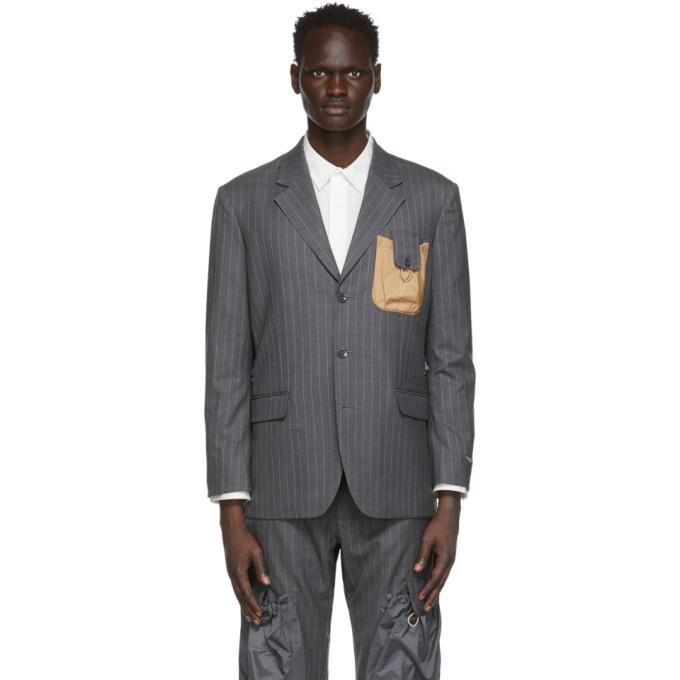 Li-Ning Grey Striped Pouch Blazer  - buy with discount