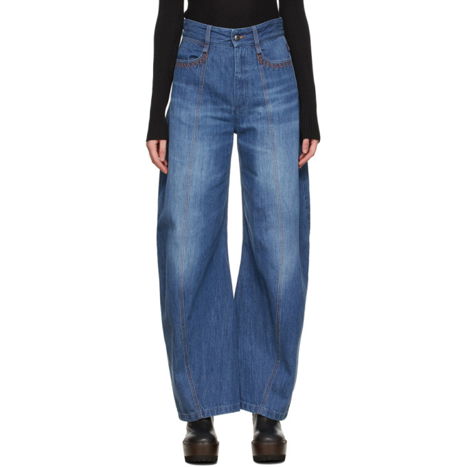 Chloé CHLOE BLUE ORGANIC COTTON WIDE JEANS