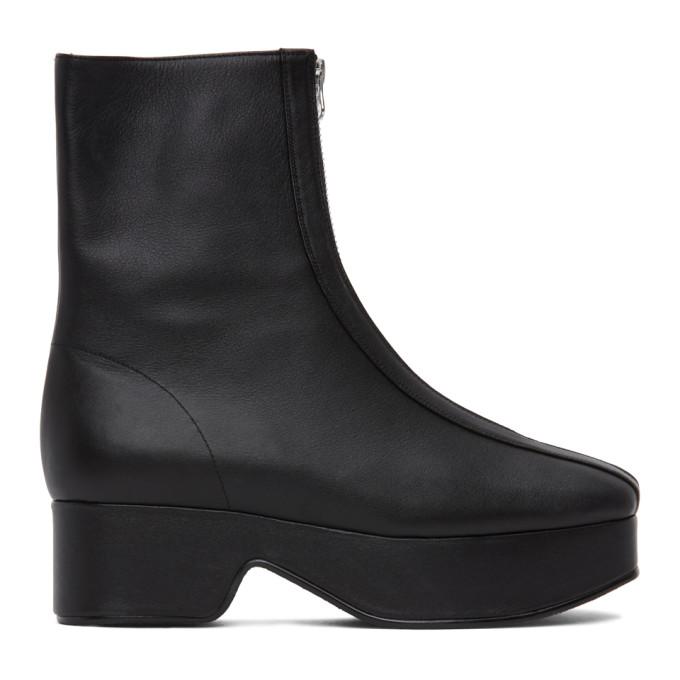 Flat Apartment Black Squared Toe Zip Boots