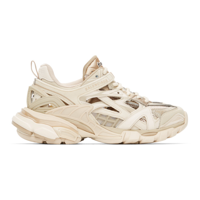 Balenciaga 60mm Track 2.0 Faux Leather Sneakers In Beige