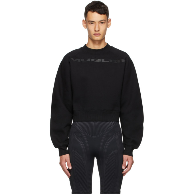 SSENSE Exclusive Black Logo Cropped Sweatshirt