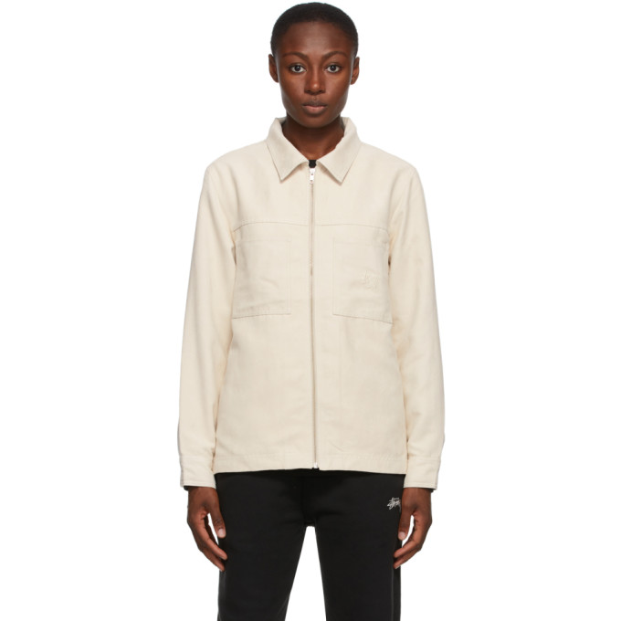 Stussy Stussy Off-White Faux-Suede Work Shirt Jacket