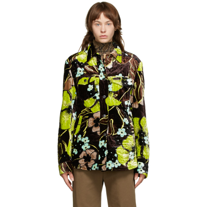 Dries Van Noten Dries Van Noten Brown Floral Quilted Jacket