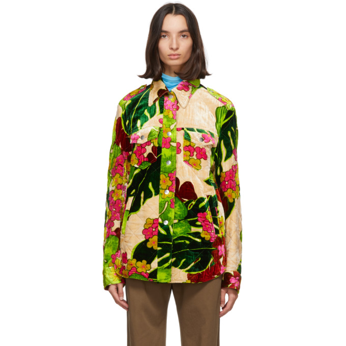 Dries Van Noten Dries Van Noten Green Floral Quilted Jacket