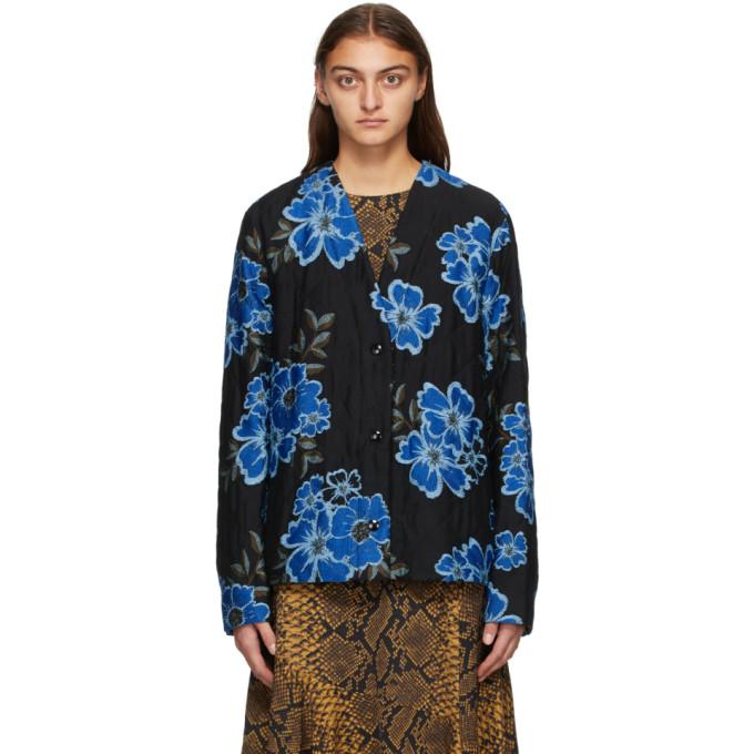 Dries Van Noten Dries Van Noten Black and Blue Floral Jacket