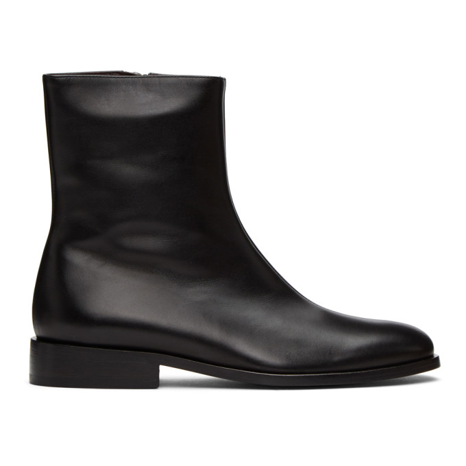 Dries Van Noten Black Leather Ankle Boots