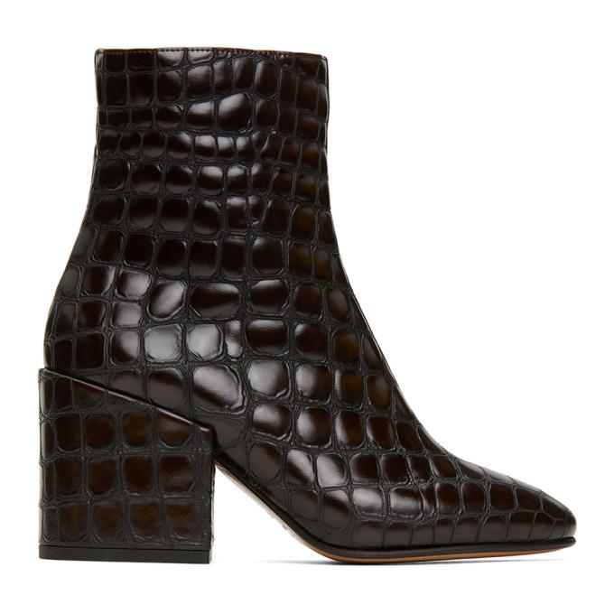 Dries Van Noten Brown Croc Ankle Boots