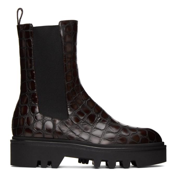 Dries Van Noten Brown Croc Chelsea Boots
