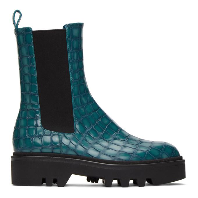 Dries Van Noten Blue Croc Chelsea Boots