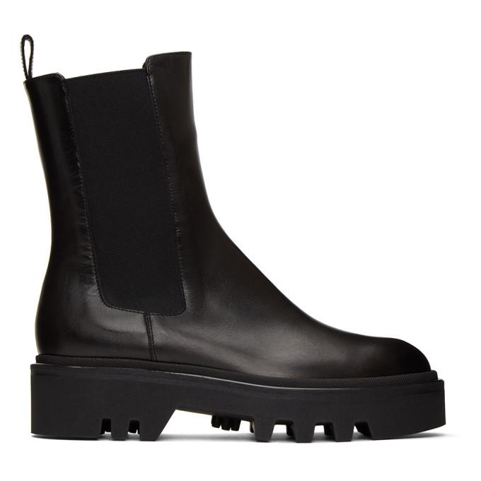 Dries Van Noten Black Leather Chelsea Boots
