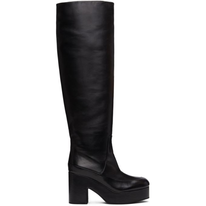 Dries Van Noten Black Leather Platform Tall Boots