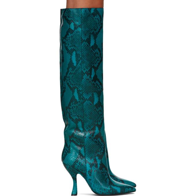 Dries Van Noten Blue Snake Tall Boots
