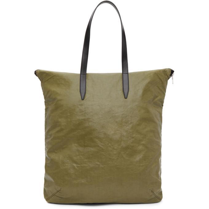 Dries Van Noten Khaki Faux-leather Tote In Green