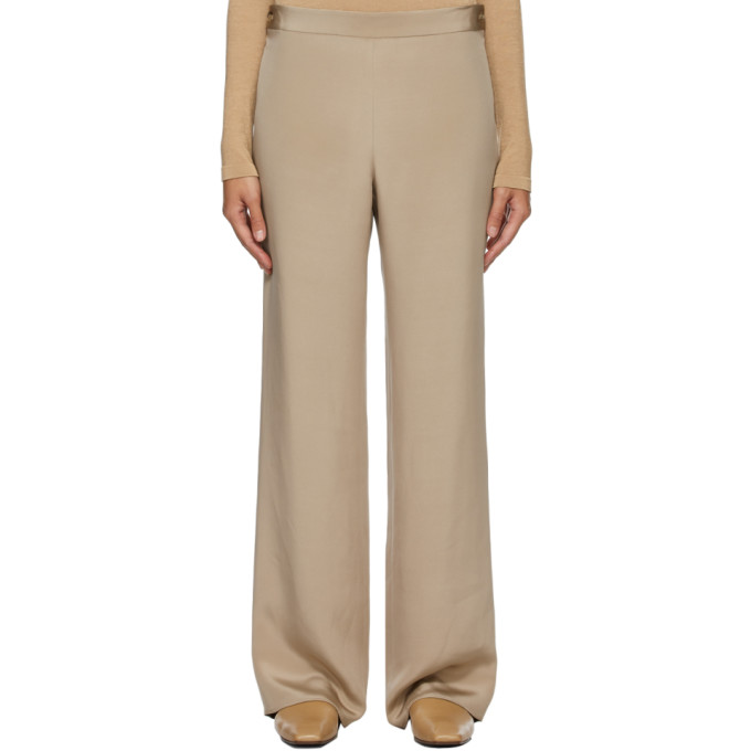 The Row Taupe Silk Ole Trousers  - buy with discount