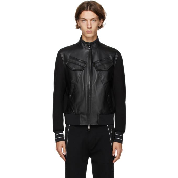 Neil Barrett Neil Barrett Black Panelled Leather Jacket