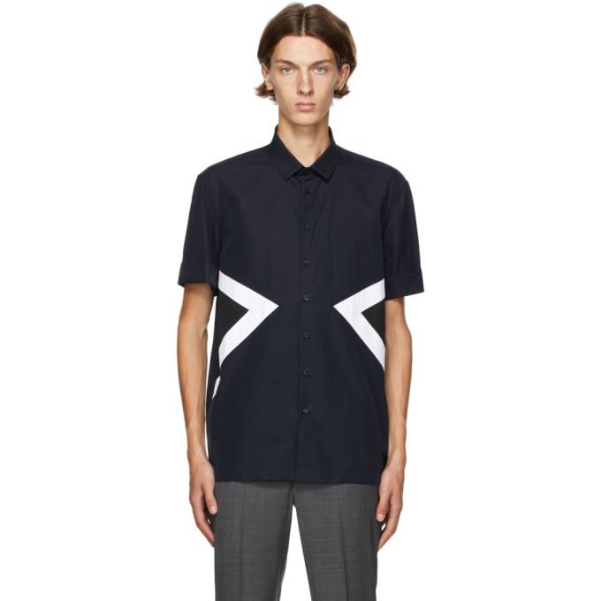 Neil Barrett 海军蓝 Modernist 短袖衬衫