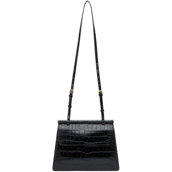 Marge Sherwood Black Croc Medium Acco Shoulder Bag