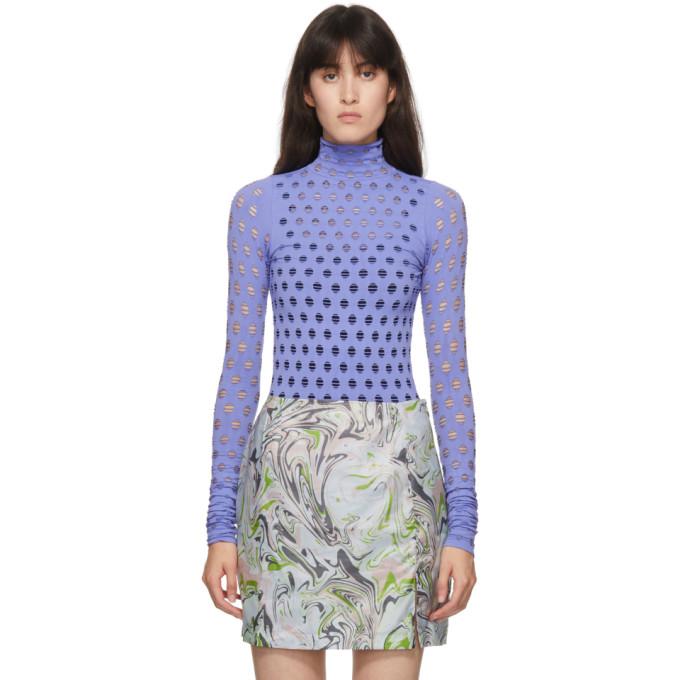 Maisie Wilen Purple Perforated Turtleneck