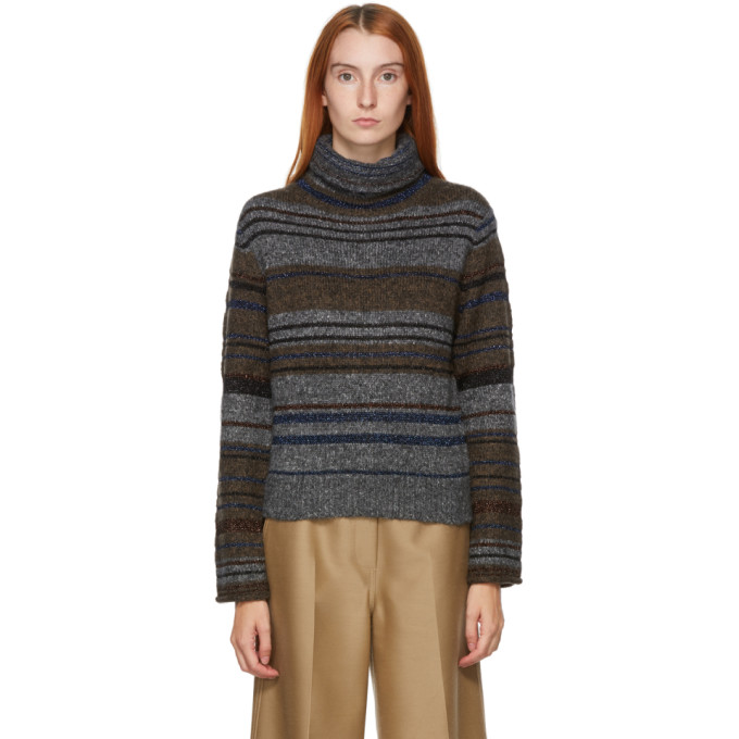 See By Chloé SEE BY CHLOE GREY WOOL AND MOHAIR STRIPED TURTLENECK