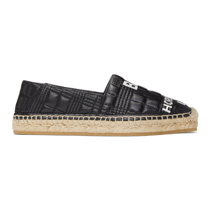 Burberry BURBERRY BLACK LEATHER HORSEFERRY ESPADRILLES