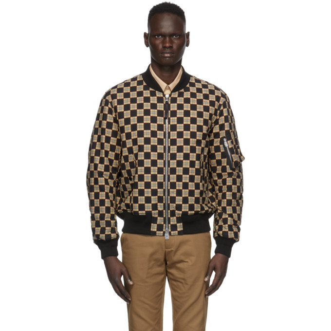 Burberry Cottons Black & Beige Checkered Brookland Bomber Jacket