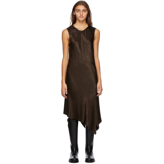 Ann Demeulemeester ANN DEMEULEMEESTER BROWN SATIN ASYMMETRIC LAMBETH DRESS
