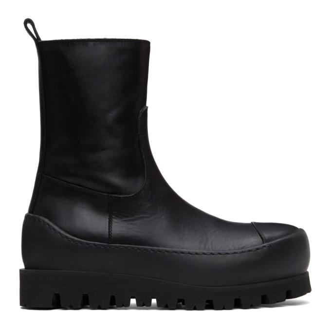 Ann Demeulemeester Black Chunky Platform Boots