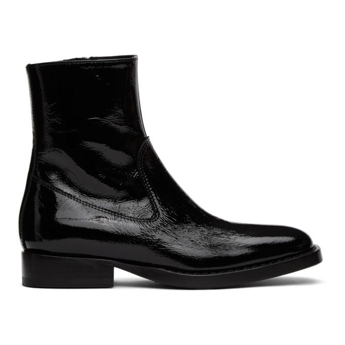 Ann Demeulemeester Black Vernice Crinkle Boots