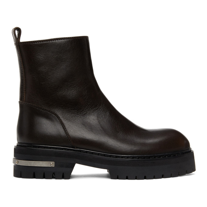 Ann Demeulemeester Brown Rustic Ankle Boots