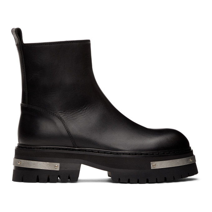 Ann Demeulemeester Black Chunk Sole Ankle Boots