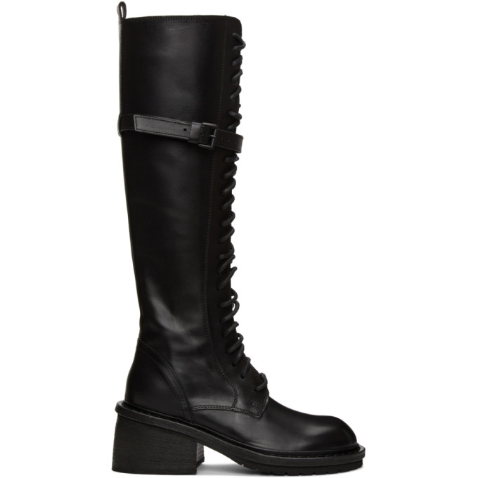Ann Demeulemeester Black Leather Heel Lace-Up Boots