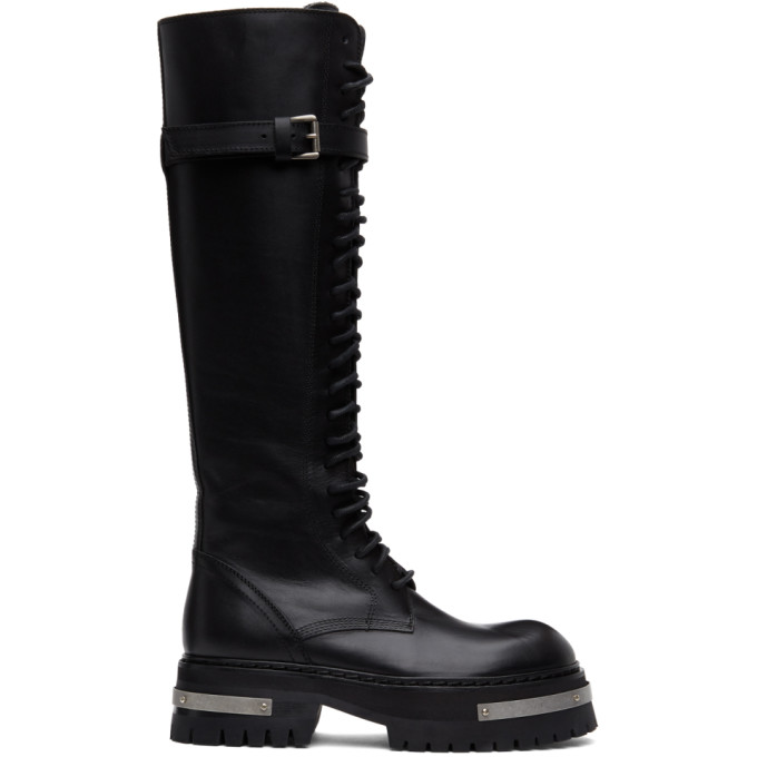 Ann Demeulemeester SSENSE Exclusive Black and Silver Oversized Sole Tucson Tall Boots