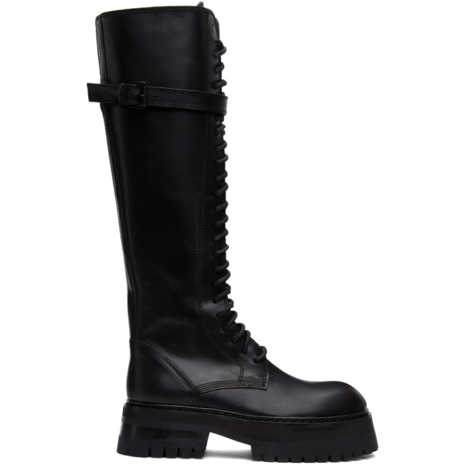 Ann Demeulemeester Black Classic Lace-Up Boots