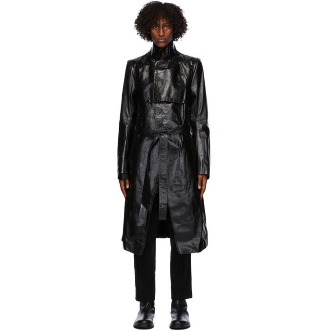 Ann Demeulemeester Ann Demeulemeester Black Leather Trench Coat