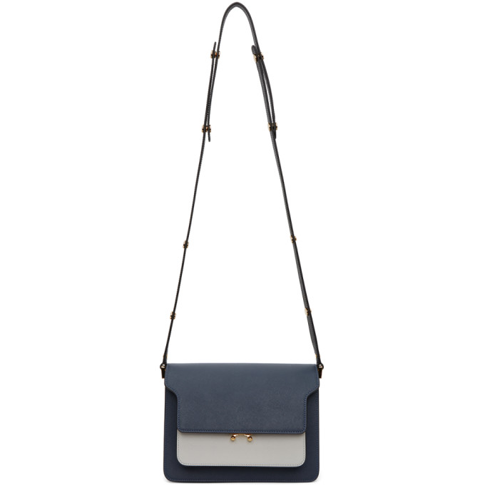 Marni Navy And White Saffiano Medium Trunk Bag In Z334n Navy | ModeSens
