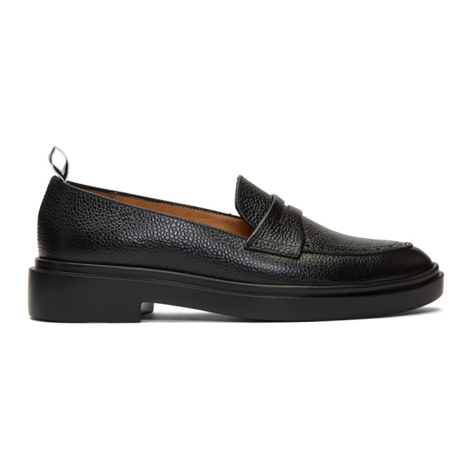 Thom Browne THOM BROWNE BLACK LIGHTWEIGHT SOLE PENNY LOAFERS