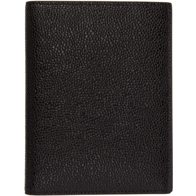Thom Browne THOM BROWNE BLACK LEATHER PASSPORT HOLDER