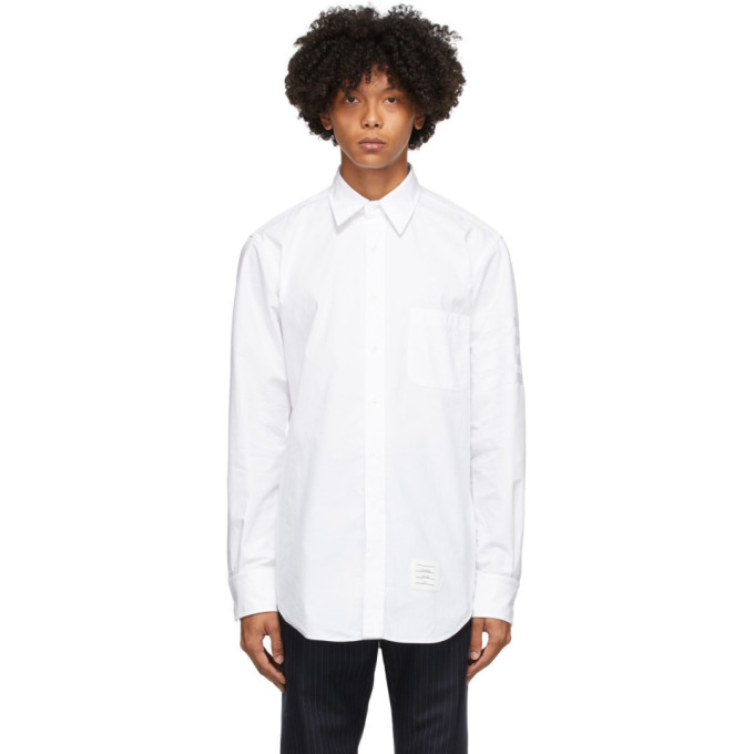 THOM BROWNE THOM BROWNE WHITE MONO OXFORD 4-BAR CLASSIC SHIRT
