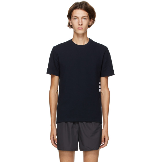 THOM BROWNE THOM BROWNE NAVY PIQUE ENGINEERED 4-BAR T-SHIRT