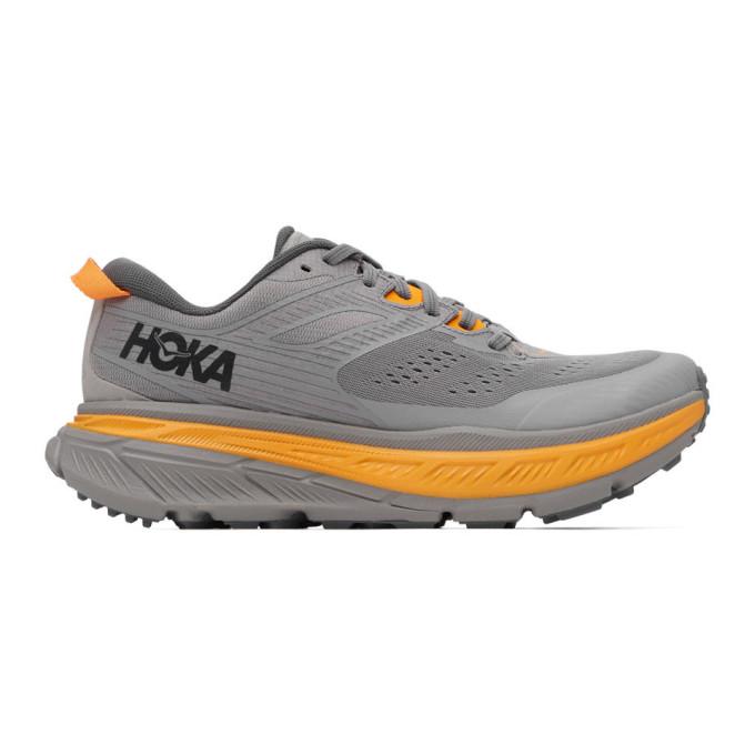 Hoka One One Grey Stinson Atr 6 Sneakers In Grey/orange
