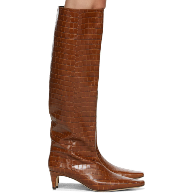 Staud Brown Croc Wally Boots